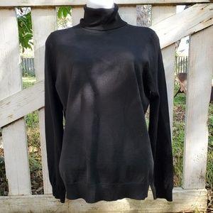 Brooks Brothers black merino wool turtleneck sweat